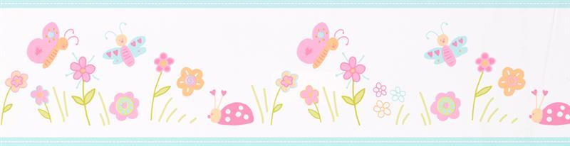 bord re selbstklebend kinderzimmer floral bunt blumen euro pro meter ebay. Black Bedroom Furniture Sets. Home Design Ideas