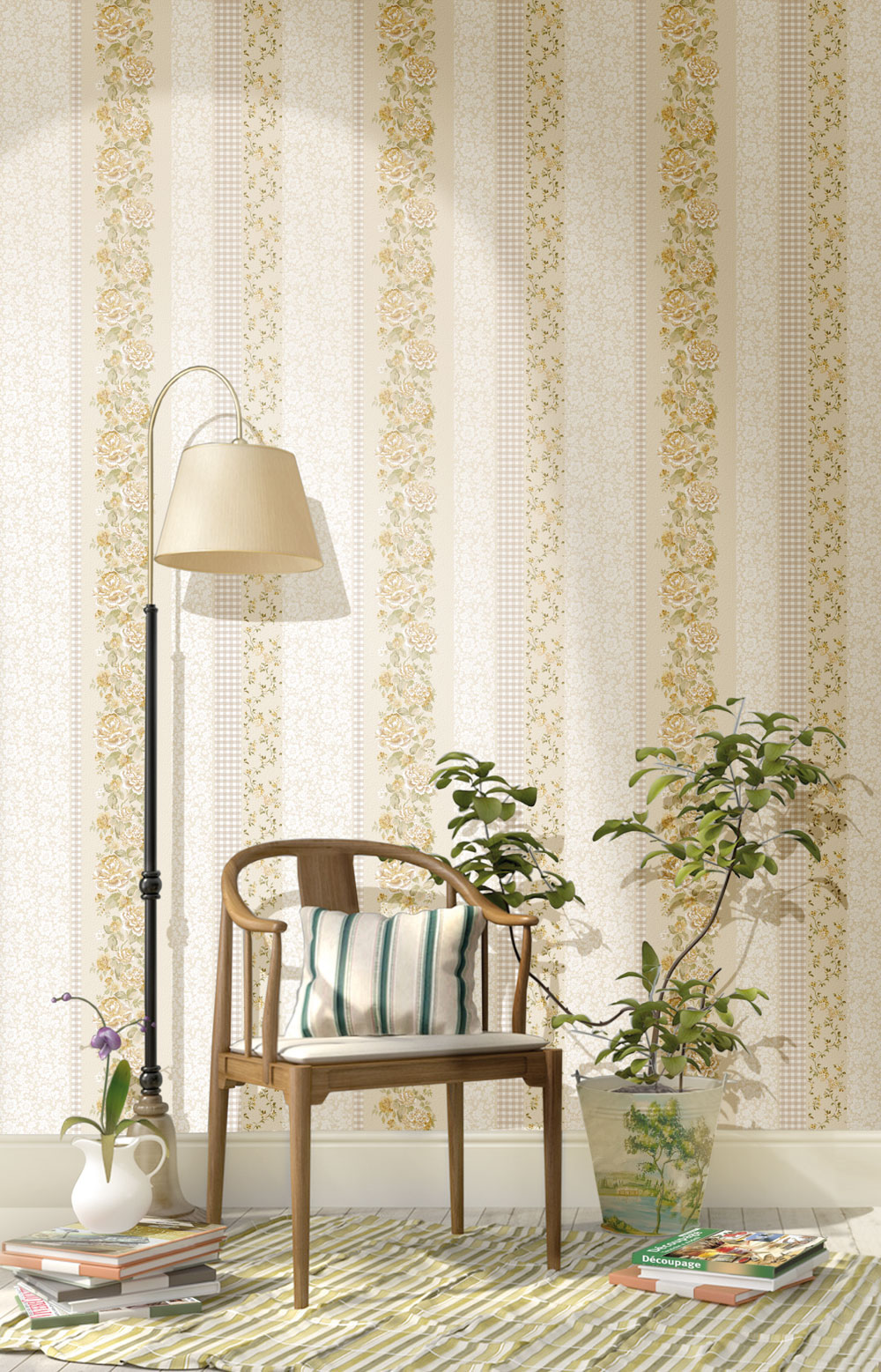 2538 primavera tapete landhaus streifen karo blumenranken ebay. Black Bedroom Furniture Sets. Home Design Ideas