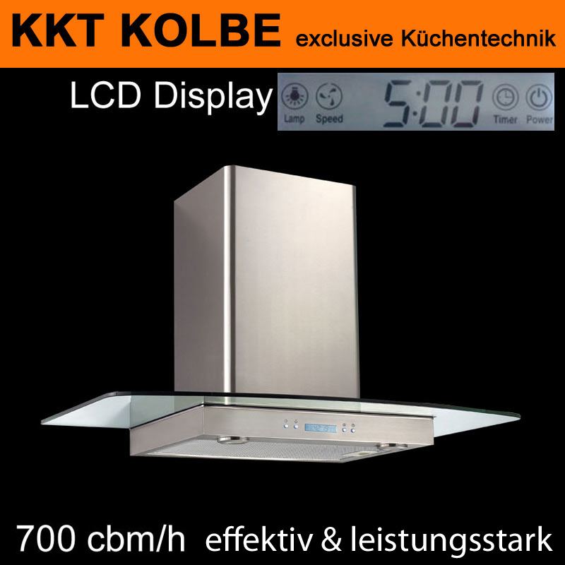 dunstabzug dunstabzugshaube 80cm 700cbm lcd display uhr kkt kolbe multi8010ed ebay. Black Bedroom Furniture Sets. Home Design Ideas