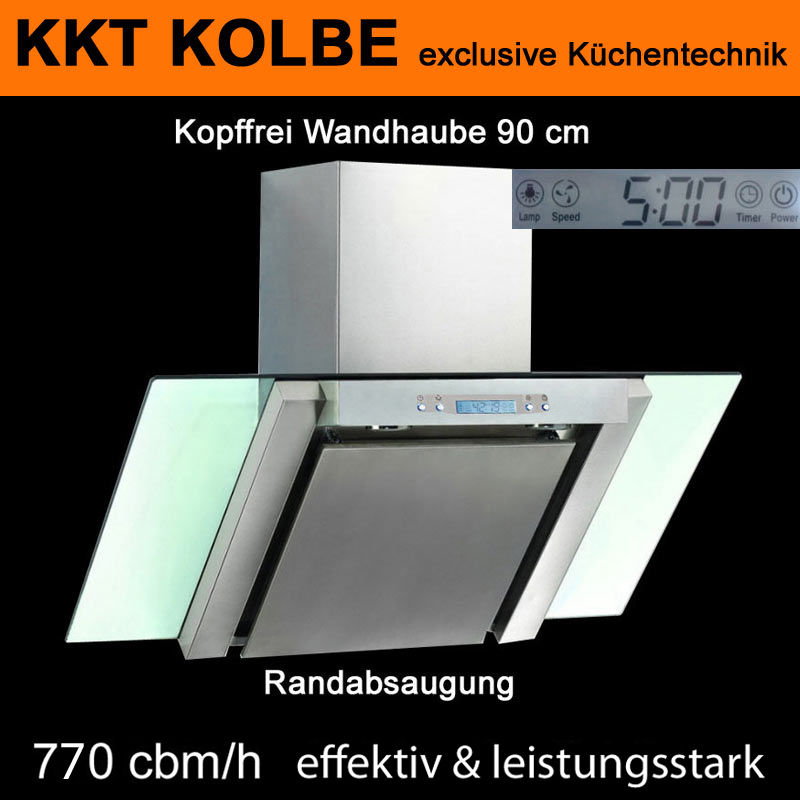 wandhaube dunstabzugshaube kopffrei 90cm mit lcd display uhr 700cbm h ebay. Black Bedroom Furniture Sets. Home Design Ideas