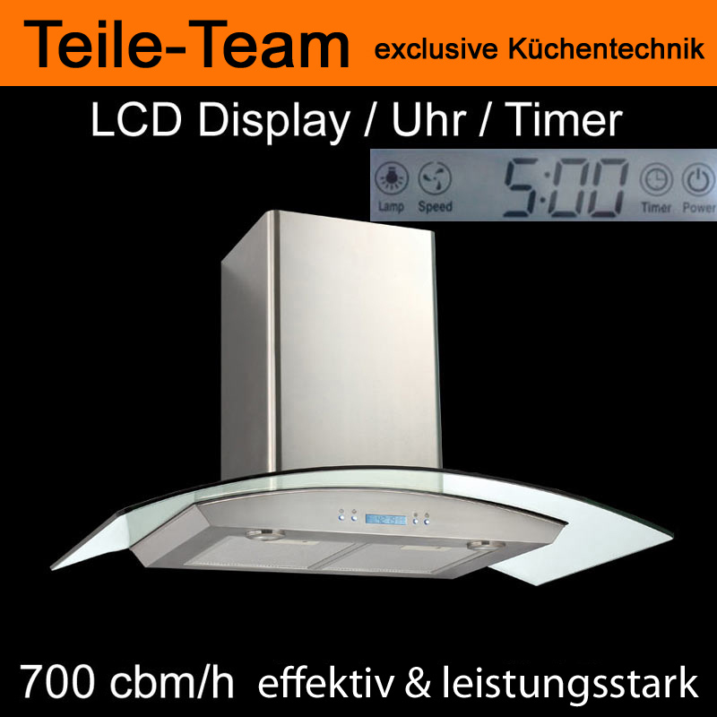 turmhaube dunstabzug dunstabzugshaube kaminhaube 90cm lcd display ebay. Black Bedroom Furniture Sets. Home Design Ideas