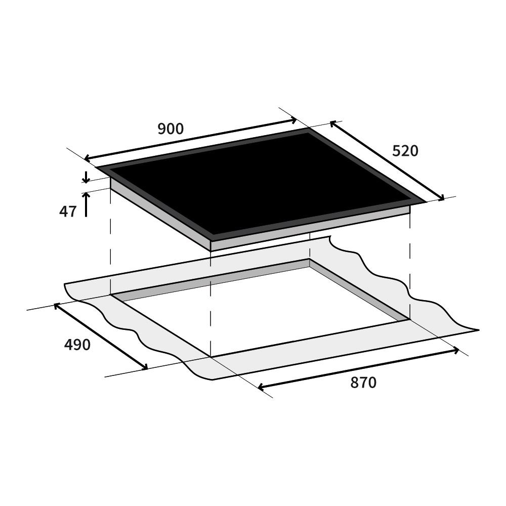 premium autark glaskeramik kochfeld 90cm 5 kochzonen mit slider ebay. Black Bedroom Furniture Sets. Home Design Ideas