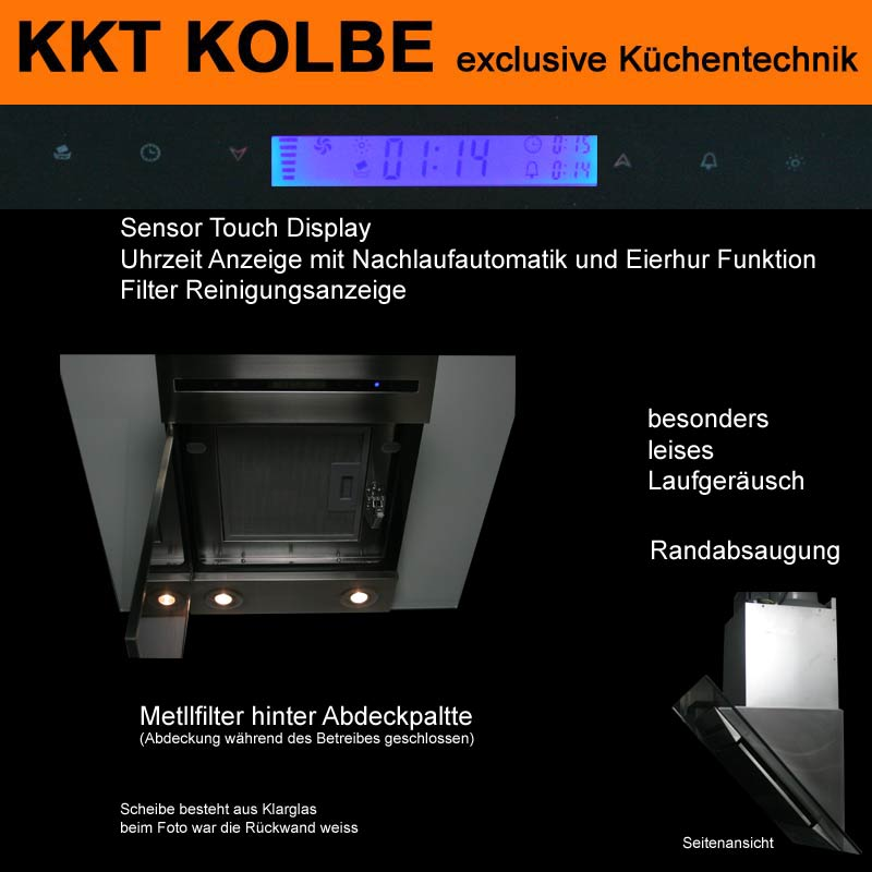 dunstabzug dunstabzugshaube kopffrei 90cm schwarz sensor touch 760cbm kkt kolbe ebay. Black Bedroom Furniture Sets. Home Design Ideas
