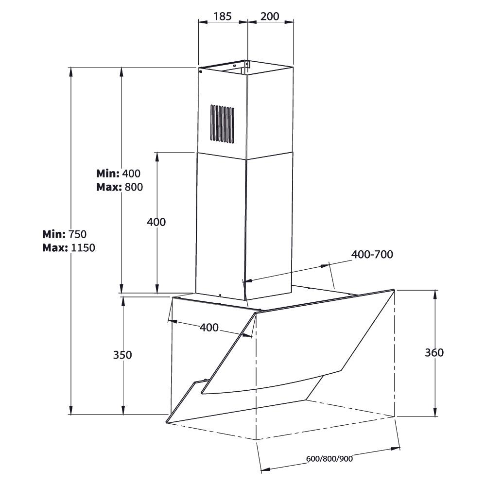 dunstabzugshaube wandhaube kopffrei 80cm edelstahl klarglas schwarz 800cbm h ebay. Black Bedroom Furniture Sets. Home Design Ideas