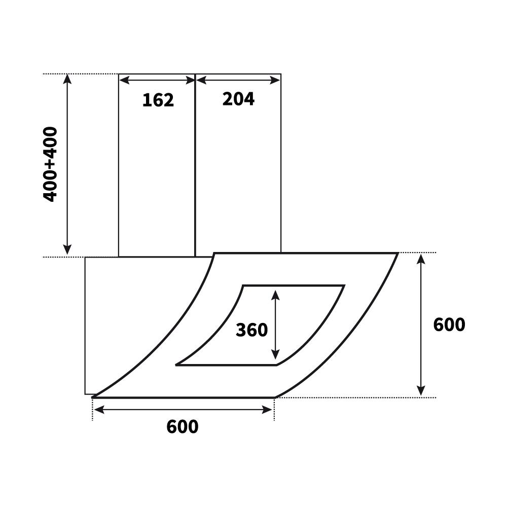 dunstabzug dunstabzugshaube kopffrei schwarz 60 cm touch control led beleuchtung ebay. Black Bedroom Furniture Sets. Home Design Ideas