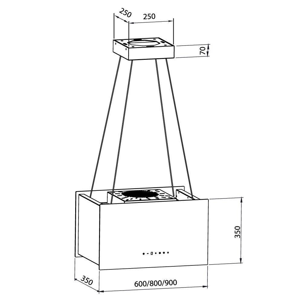 dunstabzugshaube inselhaube design mit seilsystem umluft. Black Bedroom Furniture Sets. Home Design Ideas