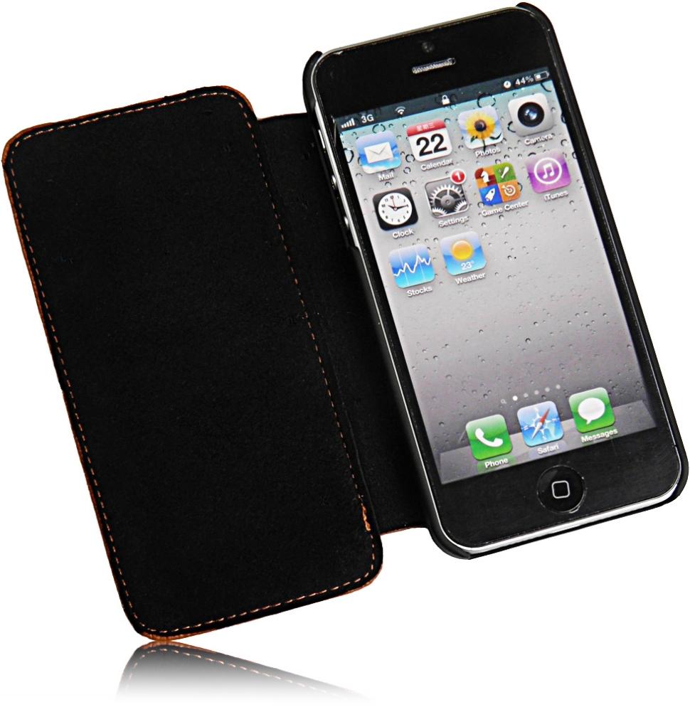 ferrari ledertasche buch fliptasch e apple iphone 5 handytasche brown. Black Bedroom Furniture Sets. Home Design Ideas