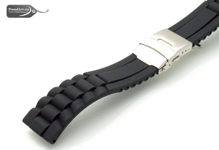 silikon uhrenarmband schwarz 22 mm im wellendesign mit. Black Bedroom Furniture Sets. Home Design Ideas