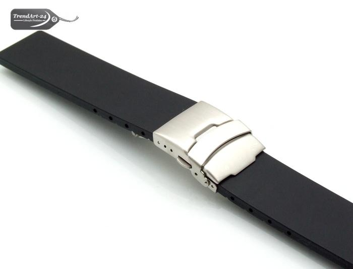 silikon uhrenarmband schwarz 18 mm faltschlie e ebay. Black Bedroom Furniture Sets. Home Design Ideas