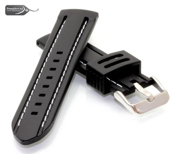 silikon uhrenarmband schwarz weisse naht ds 22 mm ebay. Black Bedroom Furniture Sets. Home Design Ideas