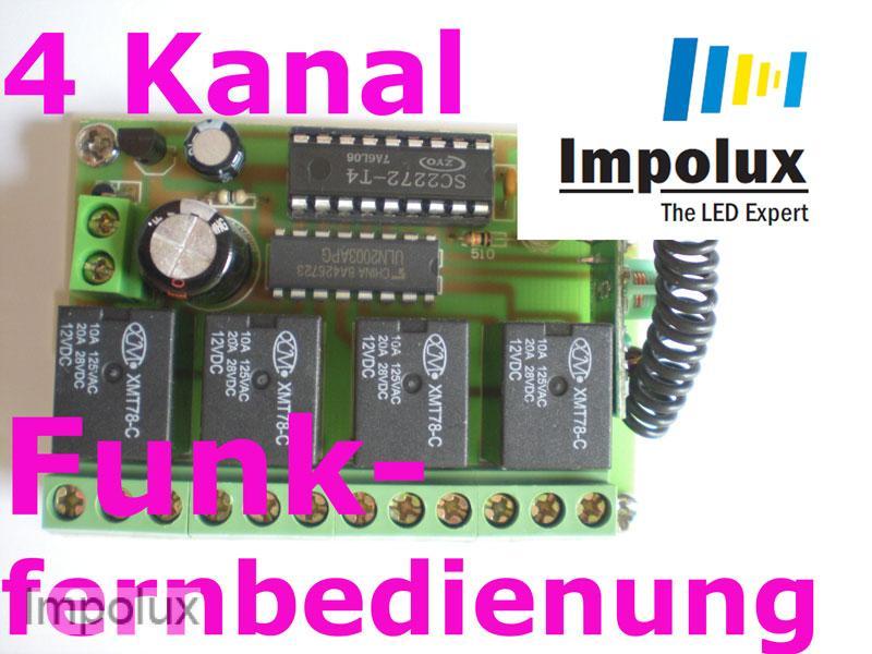 4 kanal relais led funkplatine funkschalter 12v inkl fb for Koch 4 kanal led funkfernsteuerung
