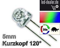 10 LED RGB 5mm KURZKOPF LANGSAM  Regenbogen Flachkopf Automatik Farbwechsel +R
