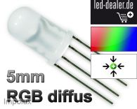 100 5mm RGB LED diffus 4Pin rouge vert bleu Controller gem. Plus / Anode g+ +R